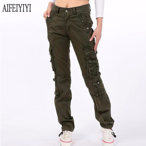 Image 4 - 2020 Men Women Denim Pantalon Femmes Workout Military Multi Pocket Baggy Cargo Pants Loose Straight Trousers Pantalones De Mujer