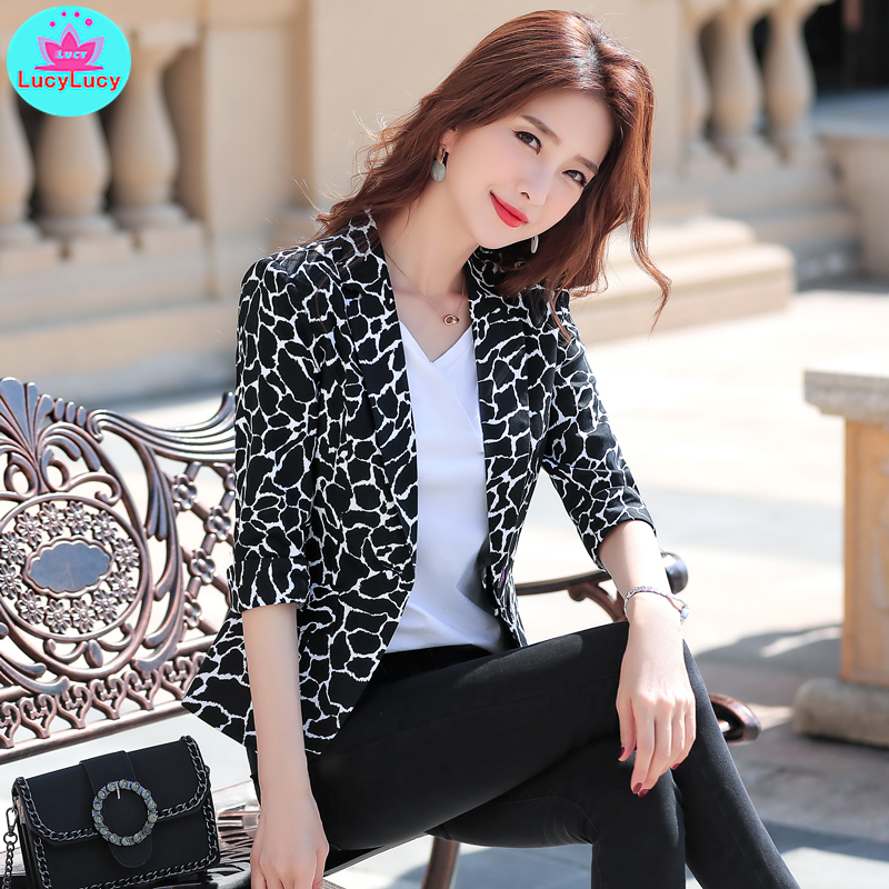 2019 New Summer Slim Slimming Temperament Casual Plaid Suit Jacket Female Single Breasted  Notched  Print  Three Quarter