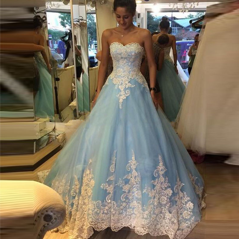 Luxury white lace appliqued princess wedding dress 2017 for Light blue dress for wedding