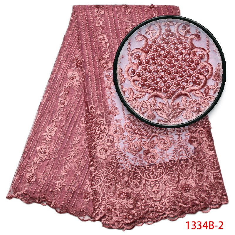 Blush Pink New Net French Lace Fabric Dress High Quality Nigeria Material Mesh Pearls Stones Wedding