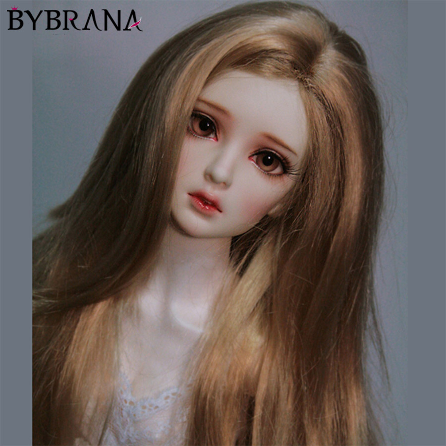 Bybrana Brown Long Curly Hair High Temperature Fiber 1/3 1/4 1/6 1/8 BJD Wigs For Dolls