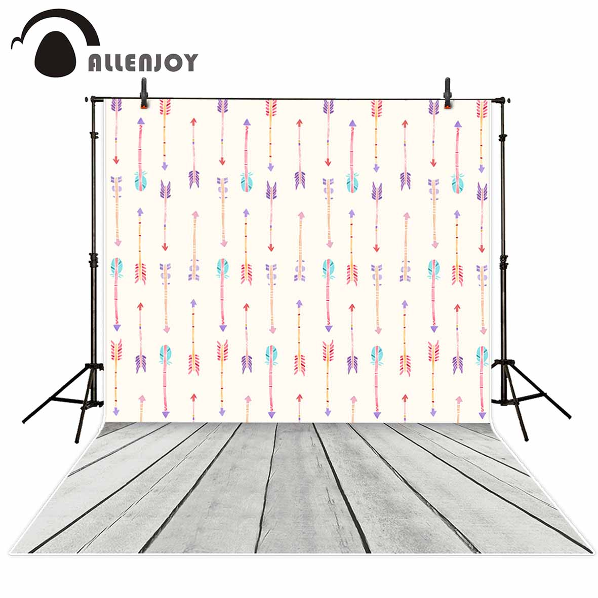 Allenjoy photography background Colorful Lovely arrows Wood floor backdrop photo studio background camera fotografica