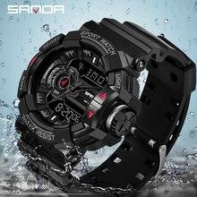 2019 Sanda Neue S Schock Männer Sport Uhren Große Zifferblatt Digitale Uhr Für Männer Luxus Marke LED Military Wasserdicht Männer armbanduhren