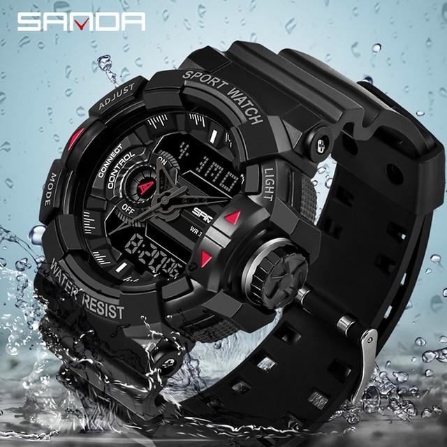2019 sanda 새로운 s 충격 남자 스포츠 시계 남자에 대 한 큰 다이얼 디지털 시계 럭셔리 브랜드 led 군사 방수 남자 손목 시계