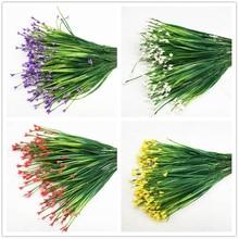 7-вилка Пластик Искусственные цветы зеленая искусственная трава, растения Офис стол декоративные листья вечерние декоры растения 5 цветов