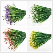 7-Fork Plastic Artificial Flowers Green Artificial Grass Plants Home Office Desk Decorative Leaves Party Decors Plants 5 Colors