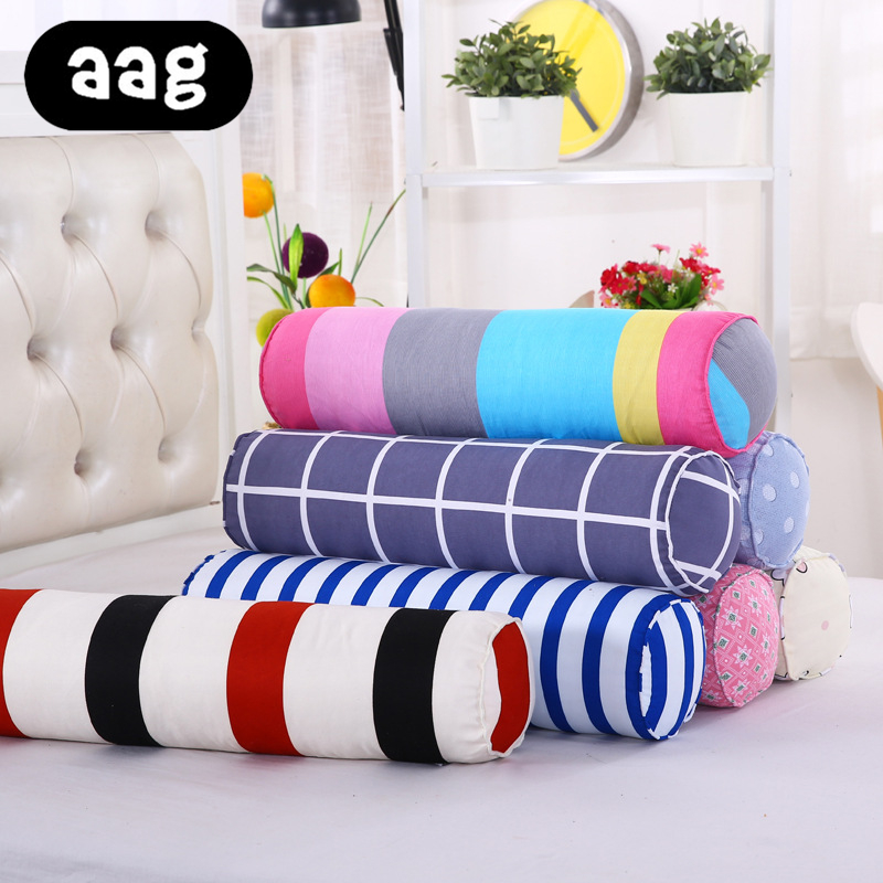 AAG New Long Column Large Cotton Linen Pillow Candy Cylinder Waist Pillow Cervical Pillow Nap Couch Bed Sleeping  Round Cushion