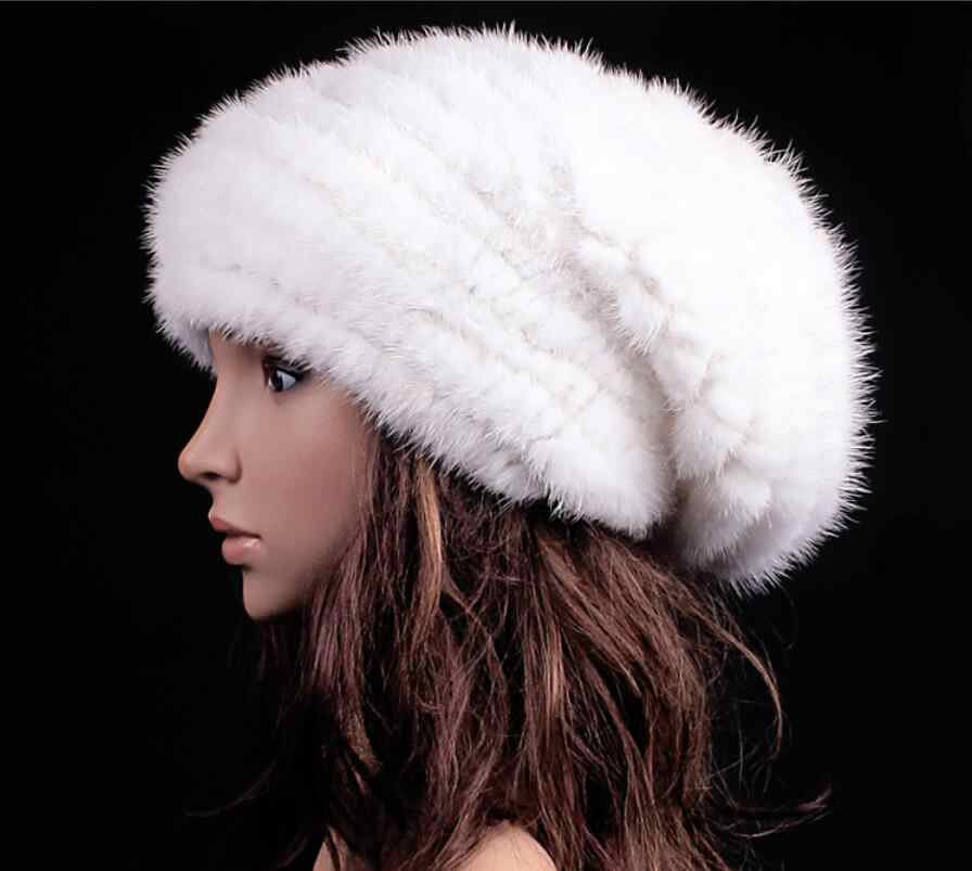 3beede5b859 Natural mink fur baggy hat for women autumn winter white 4 colors big  marten fur caps
