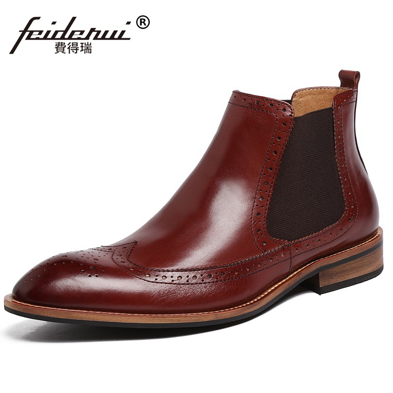Vintage Brand Man Wing Tip Brogue Oxford Shoes Male British Carved Genuine Leather Men's Cowboy Riding Chelsea Ankle Boots LF61 mld lf 1127 ankle supports