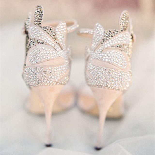 892b4797115 Champagne Wedding Shoes Rhinestone Stiletto Heels Bridal Sandals Woman  Shoes Summer 2018 Crystal Party Ankle Strap