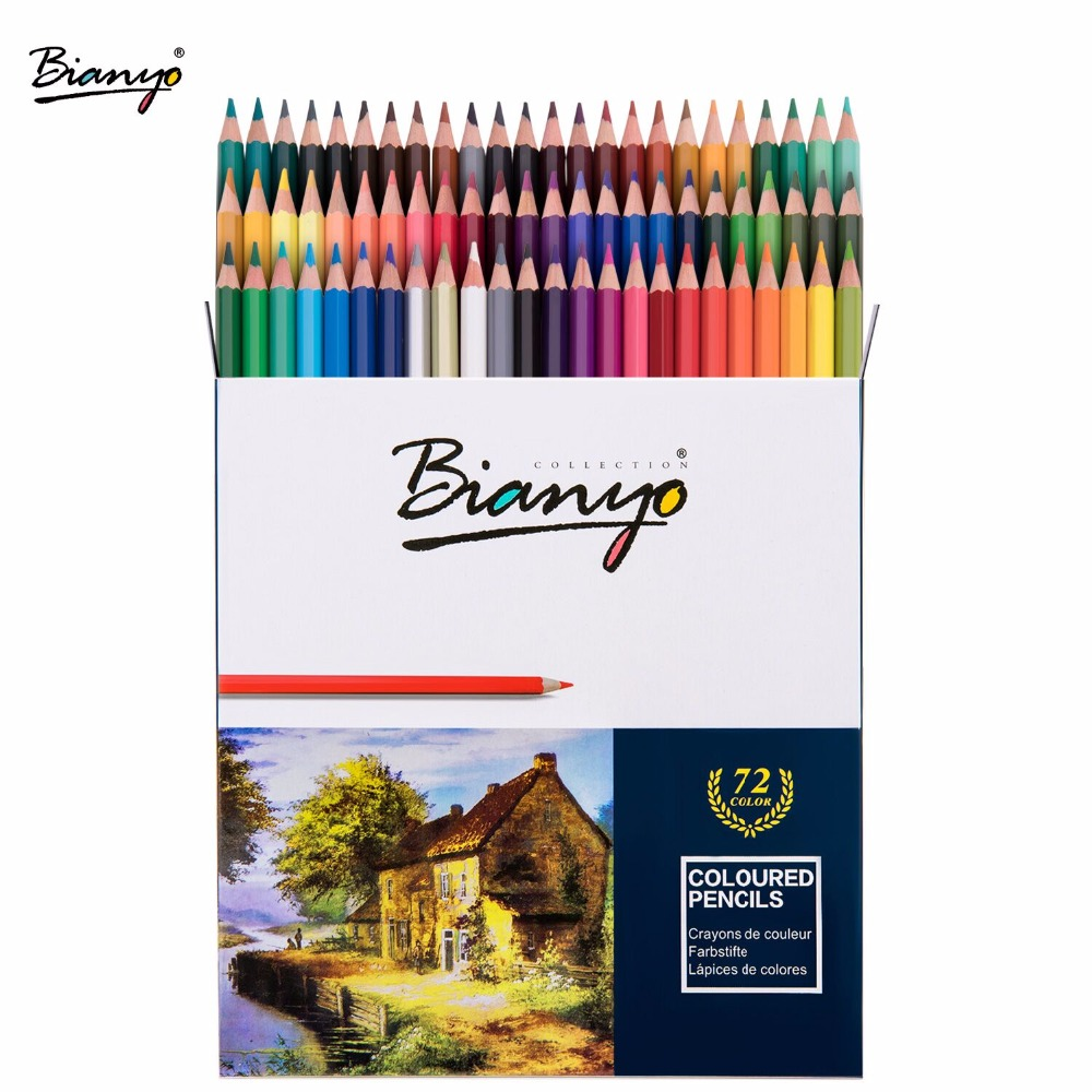 Bianyo 72Colors Non-toxic Classic Oil Colored Pencil Set For Children Special Gifts Sketching Drawing Pencil Art School Supplies 24 36 48 72colors oily colored pencil set oil base non toxic pencils for drawing painting sketch tin box art school supplies