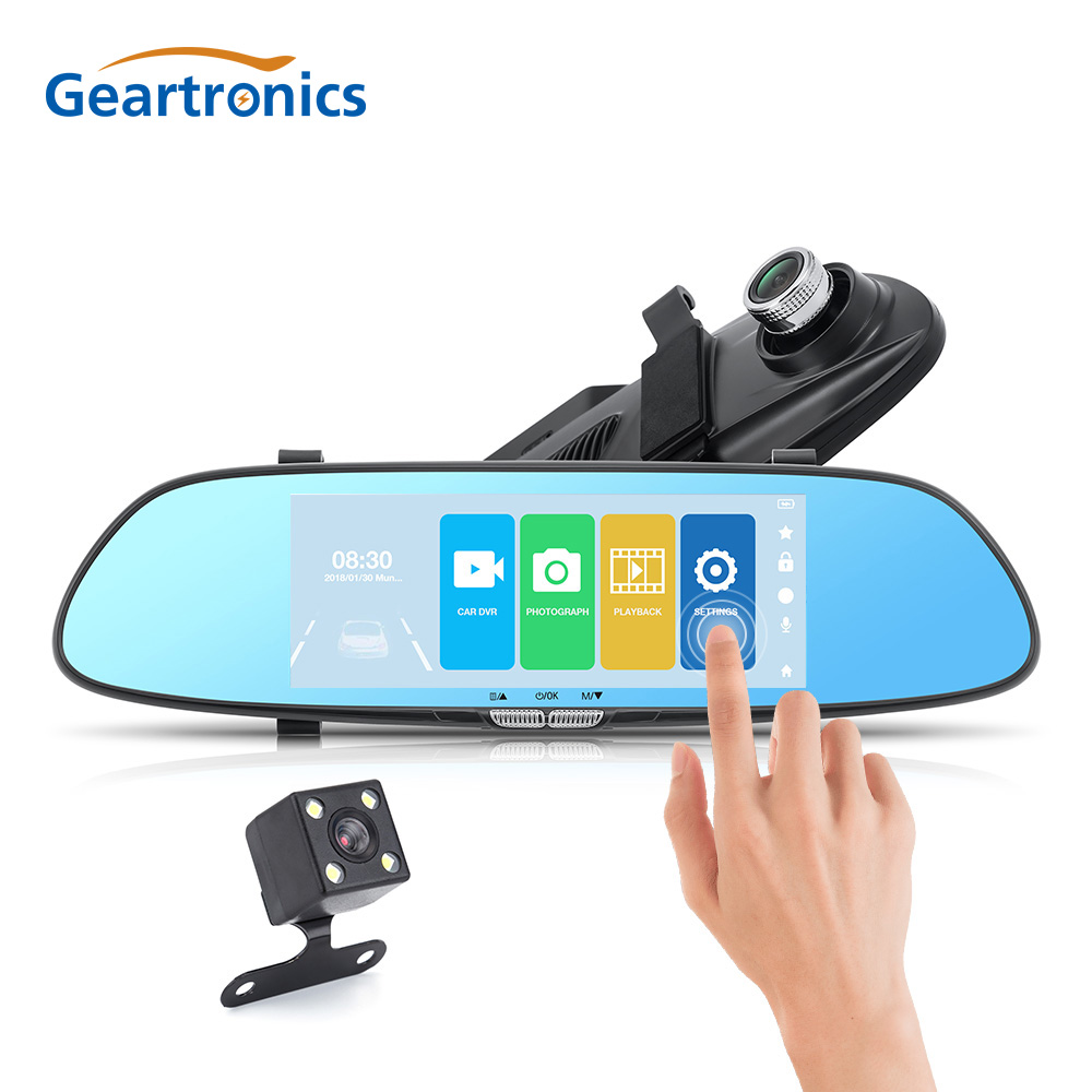 7 Inch Dual Lens Rear Mirror Car DVR Front and Back View Dash Camera Video Recorder