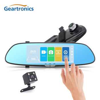 7 Inch Dual Lens Rear Mirror Car DVR Front and Back View Dash Camera Video Recorder Reversing Vehicle Auto Dashcam Night Vision