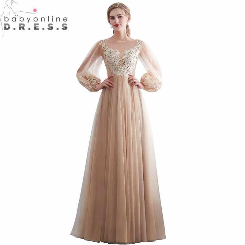fbf1ddce848 Пикантные Иллюзия фонари рукавом кружево Вечерние платья Длинные Шампанское  шифон с длинным рукавом вечернее платье Robe
