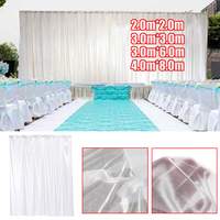 White Wedding Party Backdrop Curtain Sheer Silk Cloth Drapes Panels Hanging Curtains Drape Stage Background Decor Studio