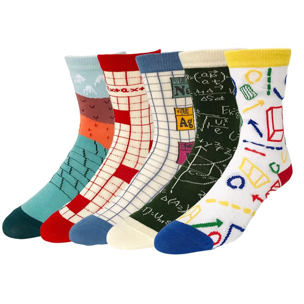 Harajuku Dames & Heren Briefpapier Sokken Kleurrijk Gekamd Katoen Korea Stijl Sok