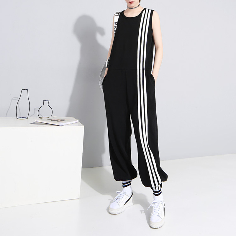 Johnature New Women Loose Ankle-length Jumpsuits Sleeveless O-neck Casual Plus Size Patchwork Striped Jumpsuits 2020 Summer