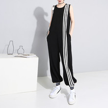 Johnature New Women Loose Ankle-length Jumpsuits Sleeveless O-neck Casual Plus S