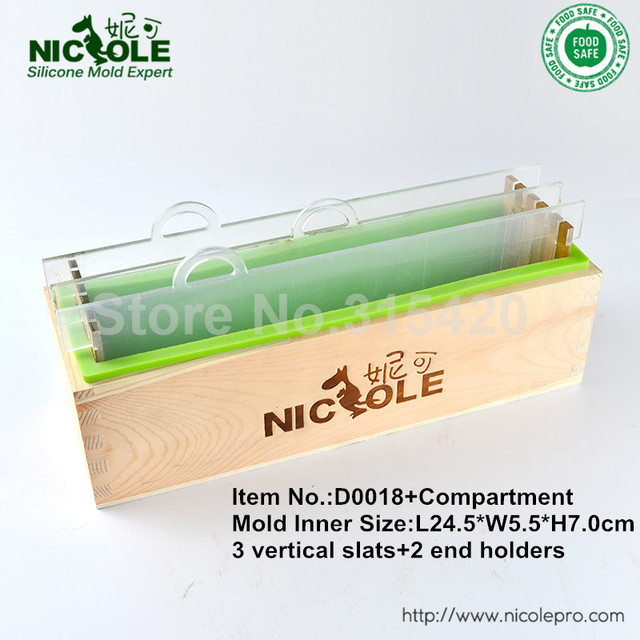 D0018 Wooden Soap Mold With Silicone Liner And Transparent Vertical