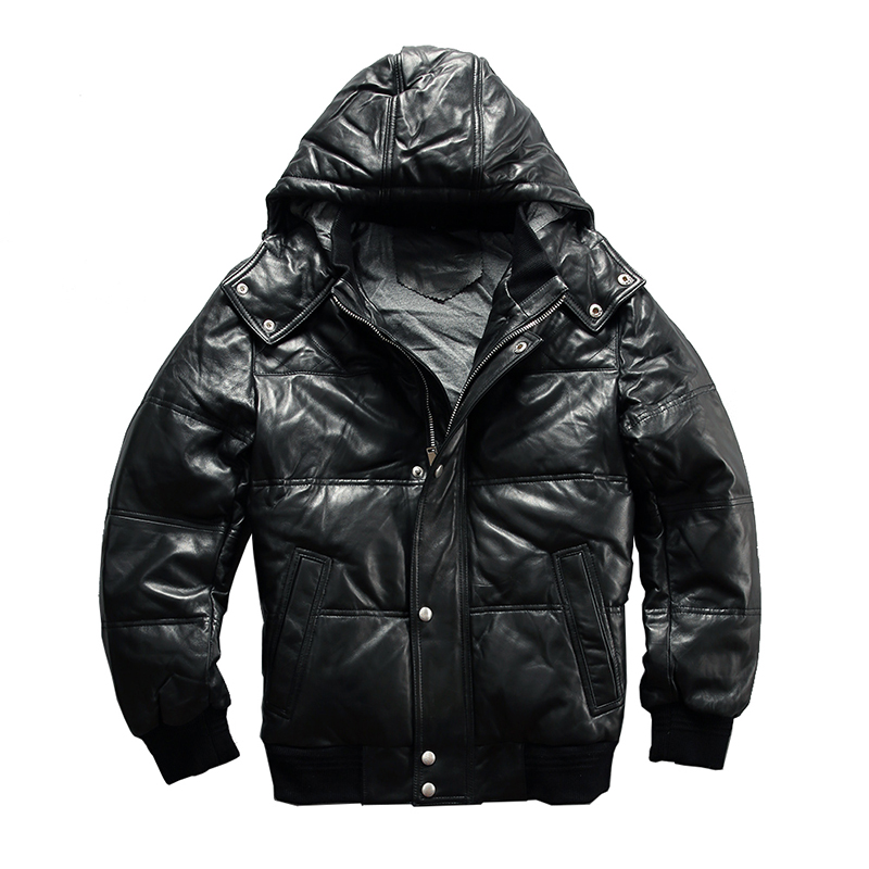 Down-Jacket Sheep-Skin Genuine-Sheep-Leather Description Winter Mens Warm 22055 Asian-Size
