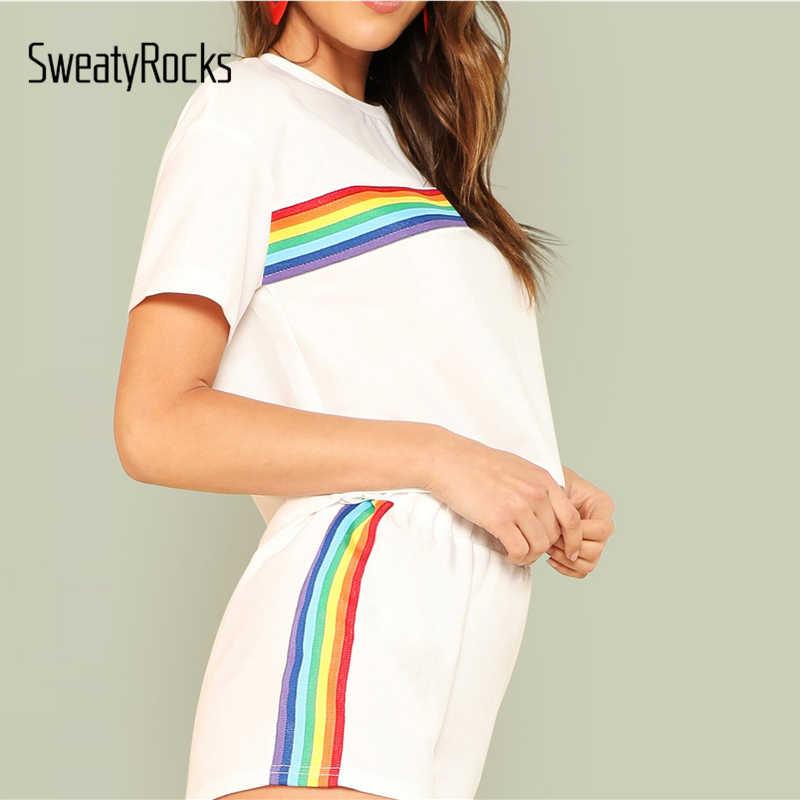 1985adff096 ... SweatyRocks Rainbow Print Tee & Shorts Two Piece Set Round Neck Short  Sleeve Women Outfits Summer