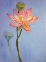 Pink Lotus Flower Garden Classic Picture Handpainted Oil Painting On Canvas Wall Art Wall Pictures For Living Room Home Decor