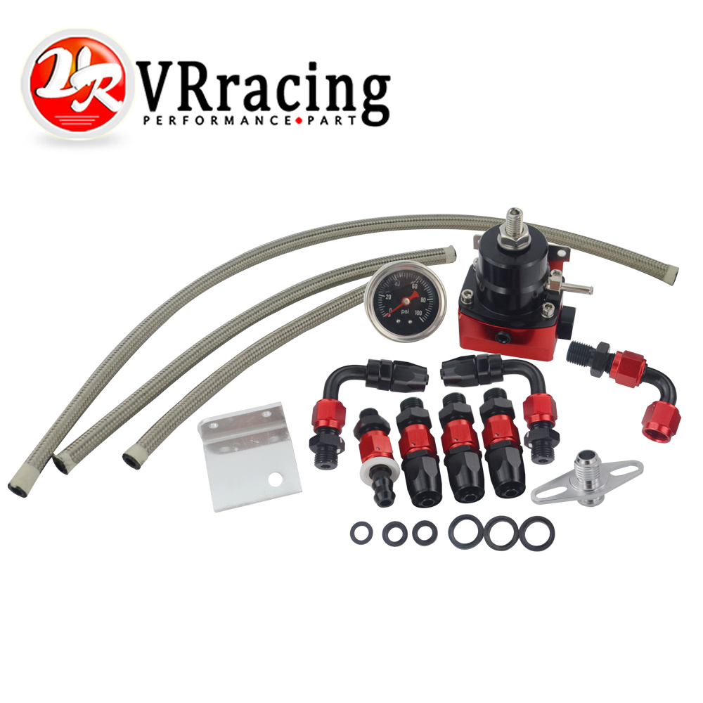 VR - Black&Red Universal fpr AN6 Fitting EFI fuel pressure regulator For 7MGTE MKIII with hose line.Fittings.Gauge VR7842BKRD universal auto fpr an6 fittings fuel regulator red 7mgte mkiii with hose line fuel pressure regulator
