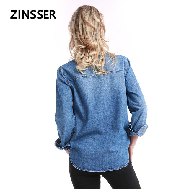 Women Denim Basic Shirt Loose Casual Long Sleeve With 2 Pockets 100% Cotton Washed Blue Female Lady Blouse Top 1