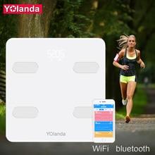 Yolanda180kg Digital Bluetooth Bathroom Body Fat Scale with Free App for iOS and Android Devices Wireless Smart Body Analyzer все цены