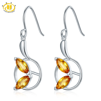 Hutang Natural Citrine Dangle Earrings Solid 925 Sterling Silver Gemstone Fine Jewelry For Women Thanksgiving Christmas