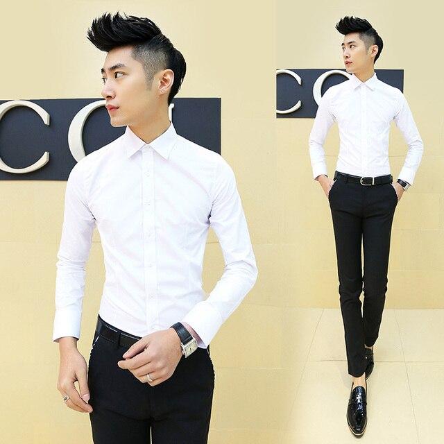 2015 primavera nuevos hombres de camisa casual de manga larga Delgado masculino adolescentes Negocio hombres de Moda camisa de color sólido