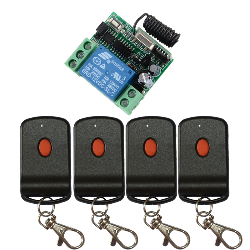 DC 12V 1CH Learning Code Wireless Remote Control Switch System teleswitch 1*Receiver 4*Transmitter Applicance Garage Door Z-Wave