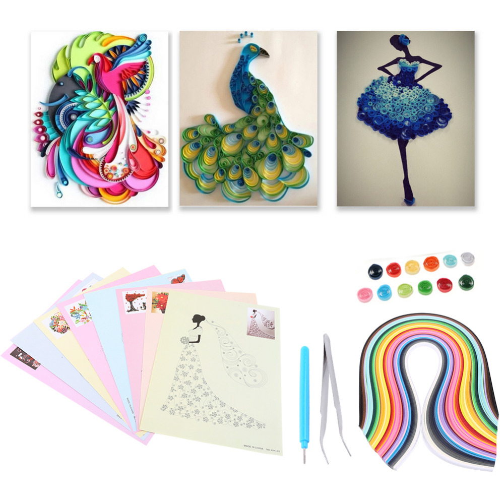 Handmade DIY Paper 500pcs Quilling Strips Quilling Rolling Tools Origami Paper DIY Hand Craft Tool 50 Colors 1 Flower Pattern