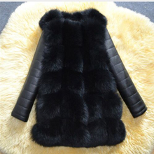Новинка, высококачественное пальто из искусственного меха серебристой лисы, теплое зимнее пальто из искусственной кожи с рукавами, пальто из лисы, пальто больших размеров