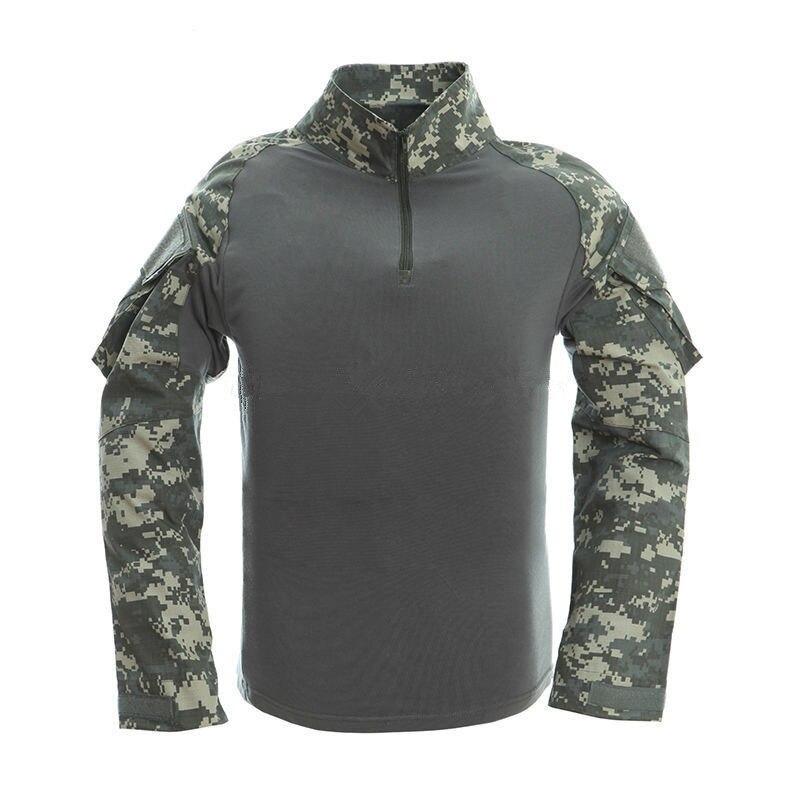 2017 브랜드 남성 위장 티셔츠 육군 전투 전술 T 셔츠 군사 남성 긴 소매 티셔츠 사냥 티셔츠 S-2XL