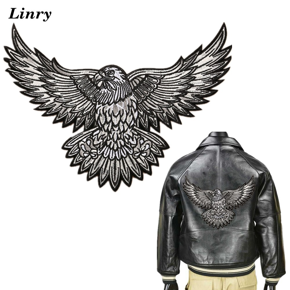 EAGLE WITH FEATHERS EMBROIDERED PATCH P328  Iron on biker JACKET patches NEW