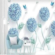 Custom wallpaper modern minimalist embossed three-dimensional dandelion Nordic background wall decoration waterproof material