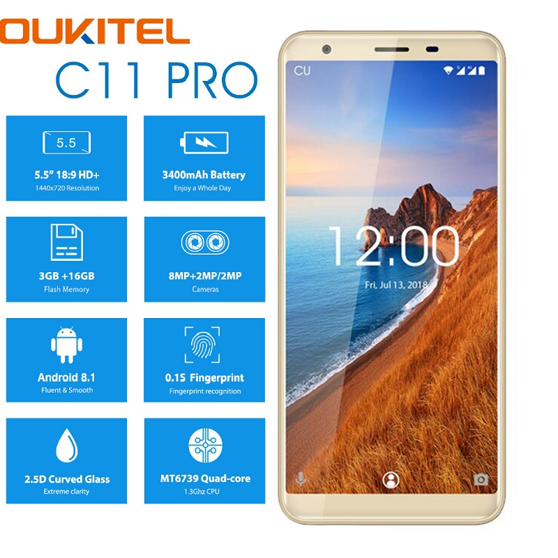 Golden OUKITEL C11 Pro 4G Smartphone 5.5 inch 18:9 Android 8.1 Quad Core 3GB RAM 16GB ROM Cell phones 3400mAh Mobile Phone