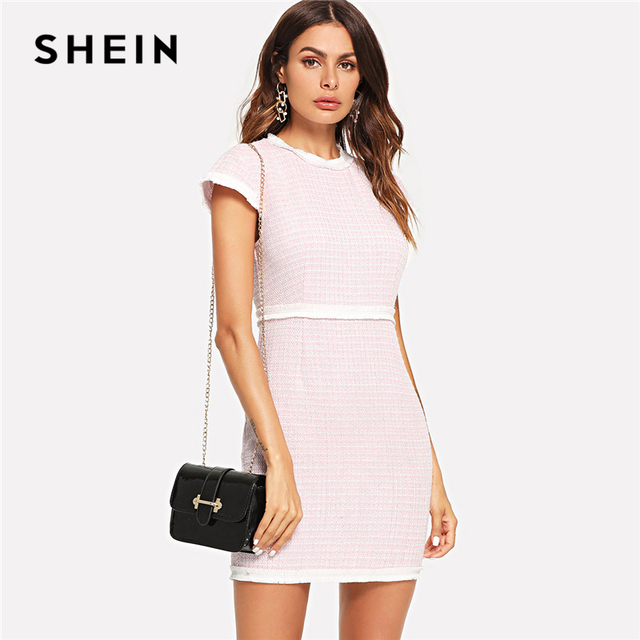 09c18f3a28 SHEIN Pink Fringe Trim Fitted Tweed Dress Elegant Workwear Zipper Cap  Sleeve Dresses Women Ladies Tunic Short Summer Dress
