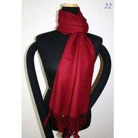 Новинка зимы Бургундия Женщины искусственного кашемира шаль шарф сплошной Цвет Wrap длинные кисточки Чал хиджаб 180x69 см
