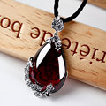 Fashion brand vintage 925 silver Red Royal Bohemian garnet natural semi-precious stones Pendant necklace ruby female retro girlf