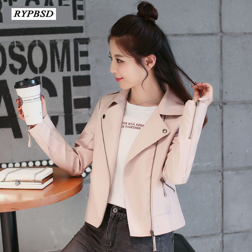 2019 New Arrial Autumn Women   Suede   Faux   Leather   Jackets Ladies Fashion Pink Biker   Leather   Jacket Motorcycle Female Coat 2Colors
