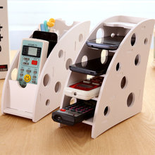 DIY wooden Desk Remote Control Holder Storage Box TV DVD VCR Step Mobile Phone shelf rack Stand stationery organizer home decor(China)