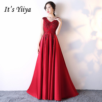 It S YiiYa 2017 Popular 3 Colors Sleeveless V Neck Prom Dresses Lace Up Bling Sequined
