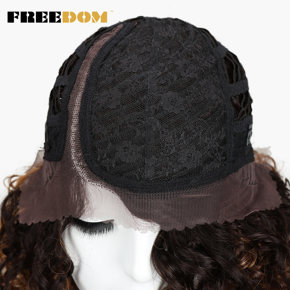 FREEDOM Afro Kinky Curly Wigs For Black Women Heat Resistant Lace Front Wigs Ombre Brown Caramel Colour  High Temperature