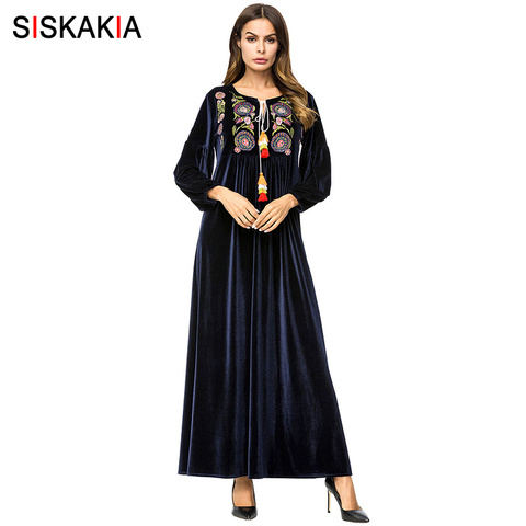Siskakia Maxi Dresses Muslim Casual Velvet long Dress For Women High Waist Swing A line Dresses Elegant Winter Fall Autumn 2018 Pakistan