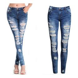 2018 г. пикантные Для женщин отверстие джинсовые Узкие брюки Высокая талия стрейч Джинсы для женщин тонкий узкие брюки пикантные Для женщин