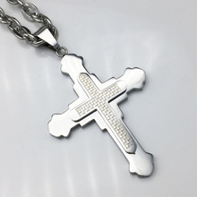 Hot sale 7MM Cross Stainless Steel Pendant Necklace Men Women Chain Christian Jewelry Christmas Gifts Wholesale