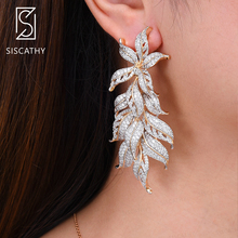 SISCATHY Trendy Bicolors Cluster Leaves Drop Dangle Earrings For Women Wedding Engagement Jewelry Big Statement 2019