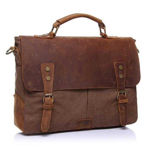 2017 Canvas Leather Men's Briefcase, Casual Vintage Men's Crossbody Bag, Bussiness Shoulder Messenger Bag For Women Man Unisex